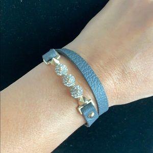 Diamonds spike leather gray wraparound bracelet